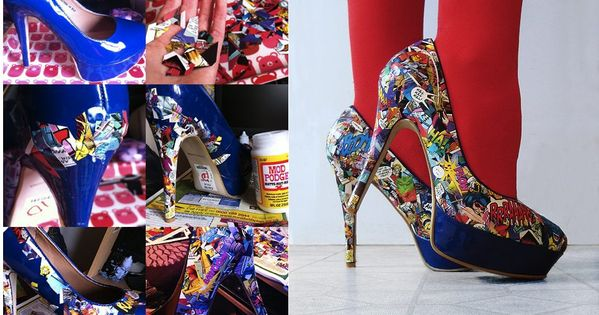 DIY Killer Comic Book Heels. I'm doing this. Who's up for a