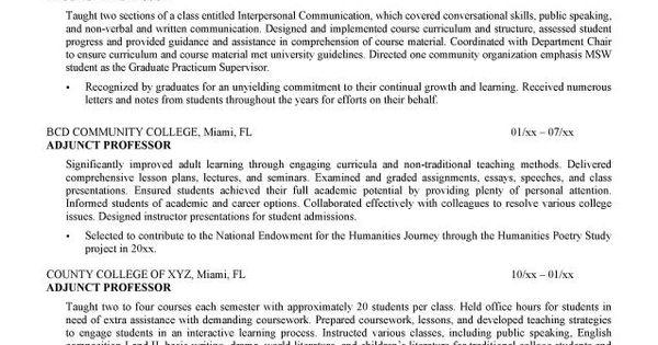 curriculum vitae college professor