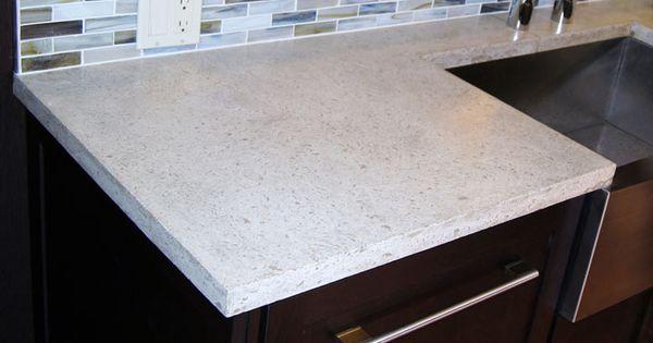 White Concrete Counter For Island Kitchen Concrete