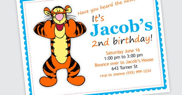 Tigger Birthday Party Invitation - Boy or Girl Birthday ...
