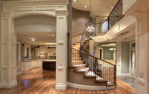 Gorgeous open floor plan spiral staircase home ideas for Floor plan spiral staircase