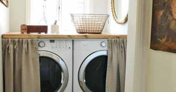 Sneaky Ways To Hide Your Washer And Dryer Antique Boxes Small Laundry And Linen Curtain