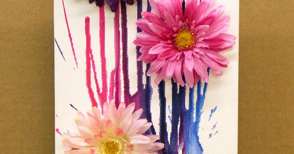 DIY: Melted Crayon Spring Bouquet Canvas craft tutorial || Supplies available at