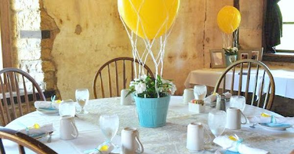 Inexpensive hot air balloon DIY centerpieces! Cute for a baby shower or