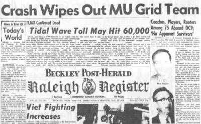 This Day In History Nov 14 1970 Plane Crash Devastates Marshall University Http Di Marshall University West Virginia History Marshall University Football
