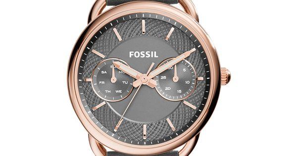 fossil s tailor gray leather 34mm es3913