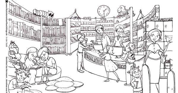 In Der Stadt Bibliothek Bucherei Herrmann Bibliothek Bucherei Illustrator
