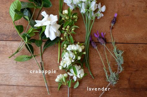 gardenia, chive, sweet pea, crabapple, lavender - beautiful bouquet deconstructed