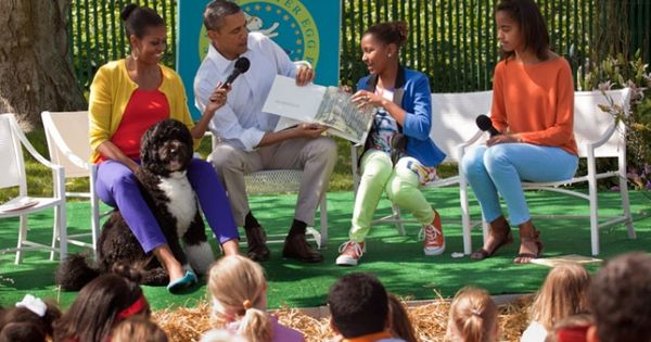 "The Obama family reading ""Where the Wild Things Are"" at the 2012"