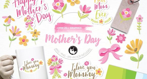 Mother's day illustration pack by Prettygrafik Design
