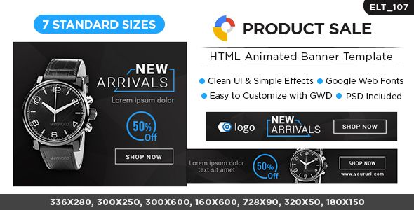 Html5 E Commerce Banners Gwd 7 Sizes Elt107 By Doto Elite Cc 107 Product Sale Html Banners Very Easy Google Web Designer Animated Banners Banner Template
