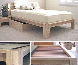 Tall Tatami Platform Bed Frame Natural Finish With 15in High Legs