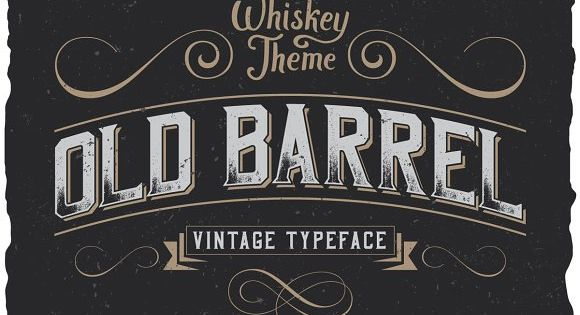 OldBarrel Vintage Typeface – strong and dynamic label style for any labels design of whiskey, rum or brandy.
