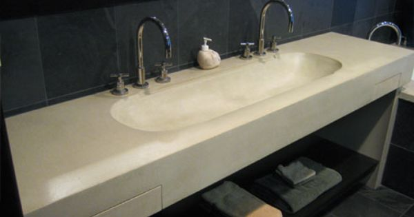 Concrete wall mounted #sink with 2 integral drawers built in. Concrete ...