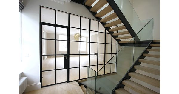 internal glass partition and door in our mondrian system. Black Bedroom Furniture Sets. Home Design Ideas