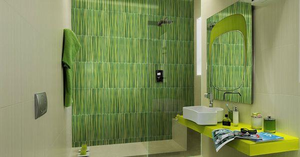 Cer mica color verde en cuarto de ba o dise os bathrooms for Cuartos de bano verdes