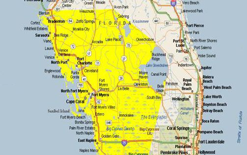 Map Of Southwest Florida Cities   ... area is from ...
