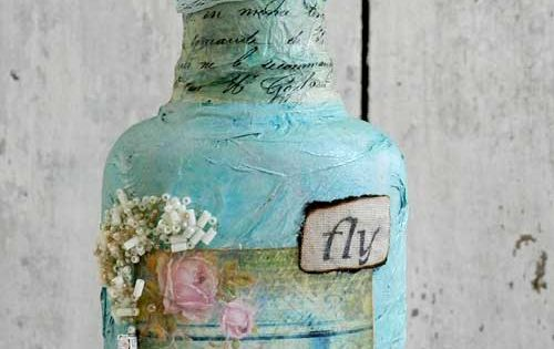 Decorate a Bottle~ vintage style with lace, scrapbook paper, old keys and