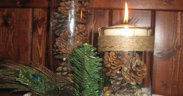 Centerpieces Were A Large Birch Slab With Two Cylinder