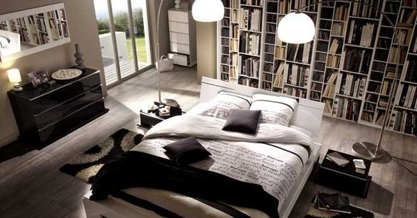 Chambre biblioth que lit central d co chambre for Bibliotheque chambre
