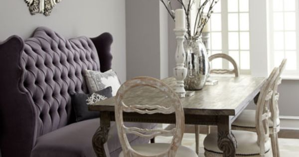 "Ideas for Banquettes in my dining area. ""Isabella"" Wing Banquette, ""Liday"" Dining"