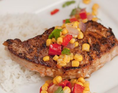 Smoked Paprika Pork Chops w/Bell Pepper & Corn Relish | Irresistible ...