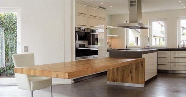 Mesa de cocina gran m nsula c cable madera y hormig n for Mesa comedor hormigon