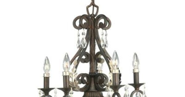 Home Depot Crystal Chandelier: Savona Collection Cognac 5-light
