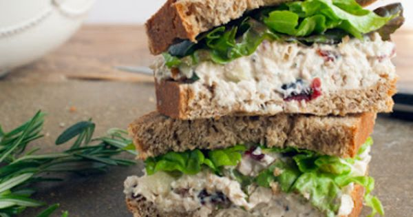 Cranberry Pecan Chicken Salad sandwich: 2 chicken breasts, cooked 1/4 cup pecans,