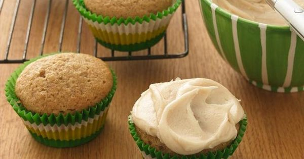 Applesauce cupcakes with brown butter frosting... YEP ... ONLY 50 calories a