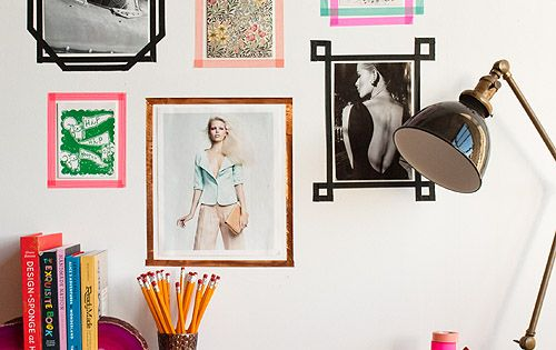 Washi tape wall frames. Easy Peasy! Great idea for dorm rooms, because