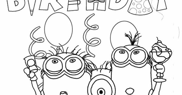 Minion birthday coloring page coloriage pinterest for Minion birthday coloring pages