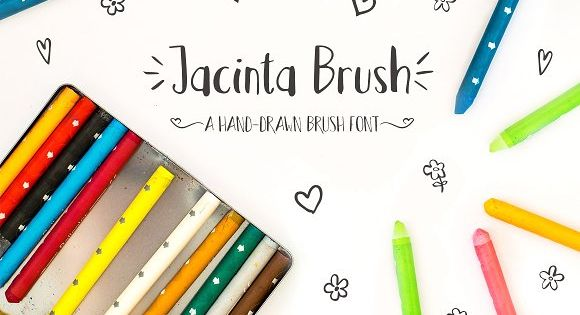 Jacinta Brush font is a hand-drawn brush font that will look great on t-shirts, mugs or any other product that utilizes the current popular brush font look.