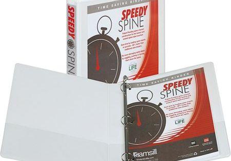 Samsill Sam18137c Speedy Spine Round Ring View Binder 1 Each White Size 1 Inch Binder Types Of Rings Presentation Binders