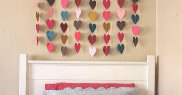 DIY Paper Heart Wall Art. kidsrooms playrooms nursery DIY wallart hearts