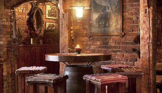 Man Cave With Exposed Brick : Man cave the use of rustic brown bar stools and table