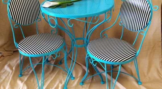 Vintage Metal Bistro Set 2 Chairs And Small Table Iron Teal Patio Furniture Black Amp White