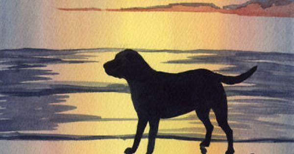 Labrador Retriever Art Print Sunset Painting Dog 8 X 10 By Artist