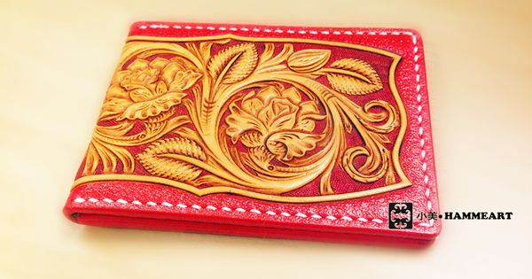 Handmade Sheridan Rose Pattern Carved Tanned Leather Card