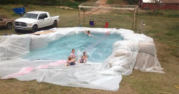Hay bale pool the next robinson road project for the - Redneck swimming pool with hay bales ...