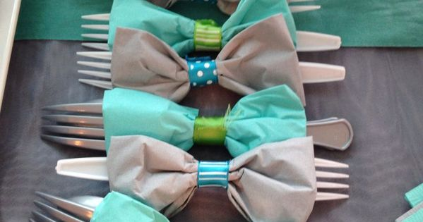 Fun Party Idea - Bow Tie Napkins (For a boy baby shower, because it is a boy)