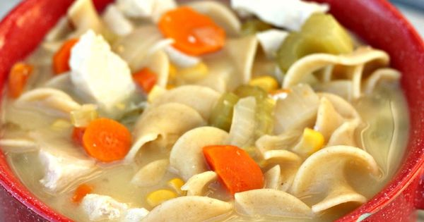Great slow Cooker Chicken Noodle Soup recipe by Six Sister's Stuff. Added