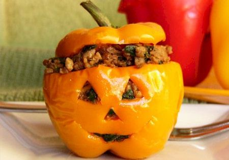 Halloween stuffed peppers Favorite halloween Recipes Snacks Spooky Scary Gross Treat