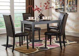 Kimonte Rectangular Dining Table W 4 Dark Brown Chairs Category