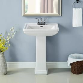 Aquasource 33 6 In H White Vitreous China Pedestal Sink At Lowes Com Pedestal Sink Sink Bathroom Styling
