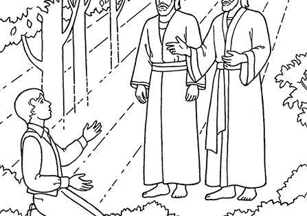 An illustration of joseph smith seeing heavenly father and for First vision coloring page