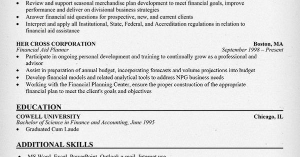 Financial Planner Resume Resume Samples Across All Industries - financial planner resume