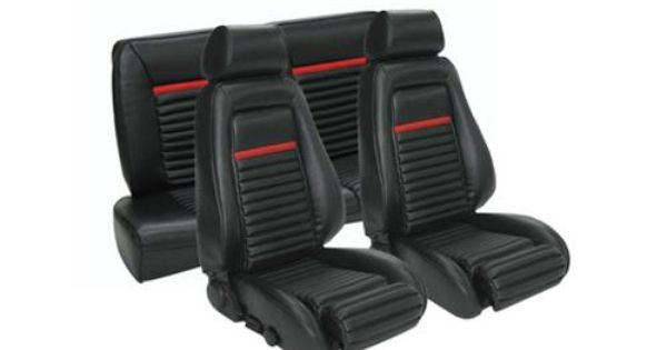 Tmi Mustang Mach 1 Seat Upholstery Black Red Vinyl 84 86 Convertible 43 74023 958 801 63s Mustang Mustang Convertible Fox Body Mustang