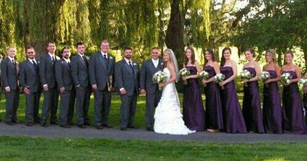 Large Bridal Party Charcoal Tux Plum Bridesmaid Dresses