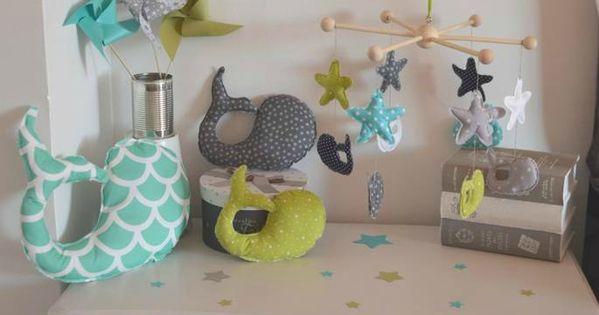 D coration chambre enfant b b gar on vert anis turquoise blanc gris bleu marine couture for Accessoires garcons turquoise et gris